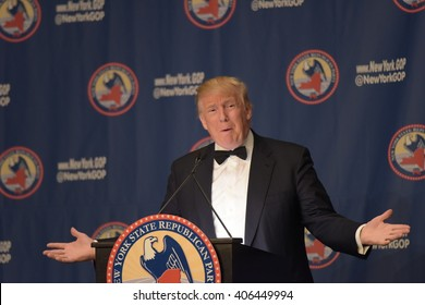 NEW YORK CITY - APRIL 14 2016: The New York state Republican party held a gala in honor of New Mexico governor Susana Martinez. GOP presidential front runner Donald Trump speaks