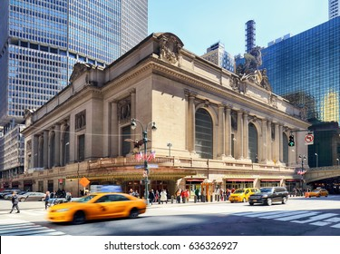 NEW YORK CITY - April 14: Historic NYC, Grand Central Terminal as seen from the street on April 14, 2016. The world's largest train station, Grand Central has more than 44 platforms and 67 tracks.
