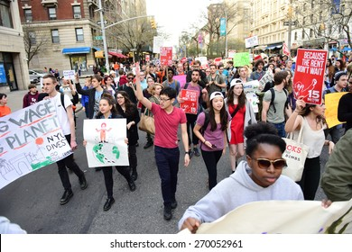 NEW YORK CITY - APRIL 15 2015: students, adjuncts & organized labor activists gathered at Columbia University for a rally & march to an UWS McDonald's demanding $15 per hour federal minimum wage