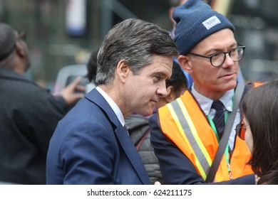 """NEW YORK CITY - APRIL 15 2017: Thousands turned out for a """"Tax Day"""" rally at Bryant Park & march to Trump Tower demanding the President release his  taxes. NY state senator Brad Hoylman"""