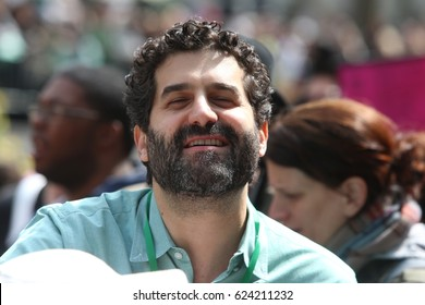 """NEW YORK CITY - APRIL 15 2017: Thousands turned out for a """"Tax Day"""" rally at Bryant Park & march to Trump Tower demanding the President release his  taxes. Frank Lesser prior to march"""