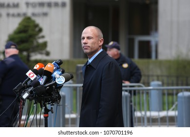 NEW YORK CITY - APRIL 16 2018: Donald Trump's personal attorney, Michael Cohen & adult film star, Stormy Daniels appeared in federal court in Manhattan. Daniel's attorney, Michael Avenatti speaks.