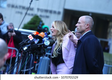 NEW YORK CITY - APRIL 16 2018: Donald Trump's personal attorney, Michael Cohen & adult film star, Stormy Daniels appeared in federal court in Lower Manhattan. Stormy Daniels leaves court after hearing