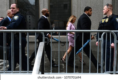 NEW YORK CITY - APRIL 16 2018: Donald Trump's personal attorney, Michael Cohen & adult film star, Stormy Daniels appeared in federal court in Lower Manhattan. Stormy Daniels arrives at court.