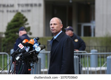 NEW YORK CITY - APRIL 16 2018: Donald Trump's personal attorney, Michael Cohen & actress, Stormy Daniels appeared in federal court in Manhattan. Michael Avenatti, Daniel's attorney after hearing