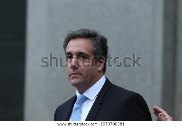 NEW YORK CITY - APRIL 16 2018: Donald Trump's personal attorney, Michael Cohen & adult film star, Stormy Daniels appeared in federal court in Lower Manhattan. Michael Cohen leaves court after hearing