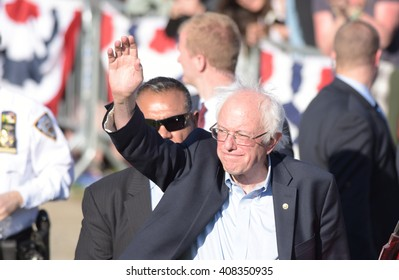 NEW YORK CITY - APRIL 17 2016: Democratic presidential candidate Bernie Sanders held a rally in Prospect Park, Brooklyn.