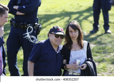 NEW YORK CITY - APRIL 17 2016: Democratic presidential candidate Bernie Sanders held a rally in Prospect Park, Brooklyn. Actor Danny DeVito