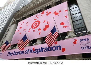 NEW YORK CITY APRIL 18th 2019: Pinterest IPO BANNER on New York Stock Exchange (NYSE) building in Manhattan Financial District