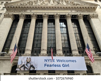 New York City, April 19 2018 - Sign on the New York Stock Exchange Building welcoming the Fearless Girl Statue which will be relocated in front of the building in Lower Manhattan.