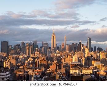 New York City - April 19, 2018: Aerial view of Midtown Manhattan from downtown in Manhattan, New York City.