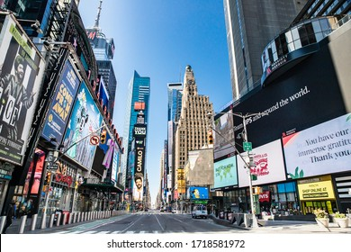 NEW YORK CITY - APRIL 19, 2020:  View of empty street in Times Square, NYC in Manhattan during the Covid-19 Coronavirus pandemic lockdown.