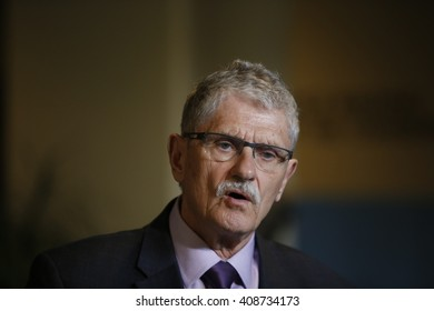 NEW YORK CITY - APRIL 19 2016: UN General Assembly president Mogens Lykketoft holds press briefing after GA Plenary Session on the world drug problem