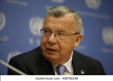 NEW YORK CITY - APRIL 19 2016: United Nations General Assembly held a plenary session on the world drug problem.Exec Dir of UN Office of Drugs & Crime Yuri Fedetov holds post assembly press conference