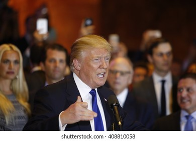 NEW YORK CITY - APRIL 19 2016: Republican presidential front runner Donald Trump celebrated his anticipated victory in the New York primary. with a brief press conference at Trump Tower in Midtown