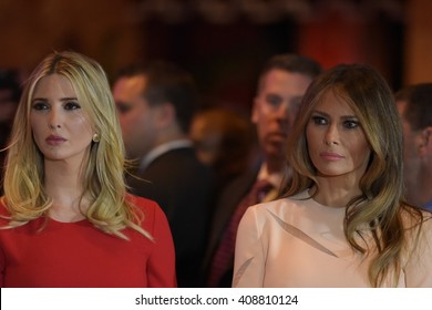 NEW YORK CITY - APRIL 19 2016: Republican presidential front runner Donald Trump celebrated his anticipated victory in the New York primary with a brief press conference. Ivanka & Melania Trump