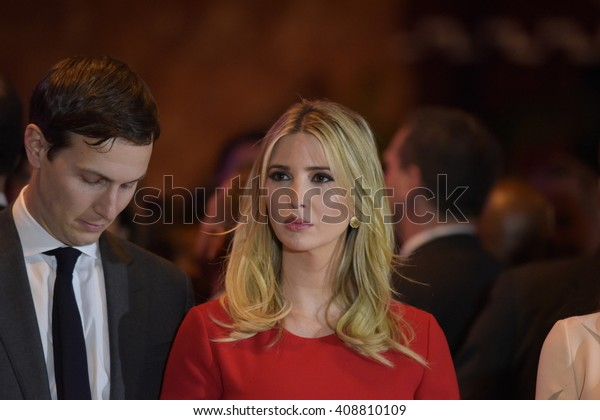 NEW YORK CITY - APRIL 19 2016: Republican presidential front runner Donald Trump celebrated his anticipated victory in the New York primary. Ivanka Trump with husband Jared Kushner