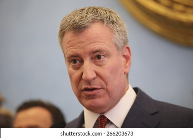NEW YORK CITY - APRIL 2 2015: mayor Bill de Blasio met with a group of progressive leaders at Gracie Mansion to discuss ways to address growing income disparity in the US.