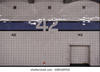 New York City - April 20, 2018: 42nd Street Times Square subway station along the eighth avenue line in New York City.