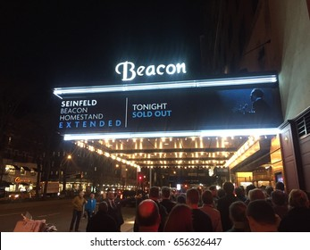 NEW YORK CITY - APRIL 2017: Exterior of Beacon Theatre in Manhattan. It is historic theater on Broadway in Upper West Side. Live music entertainment venues, under  the Madison Square Garden Company.