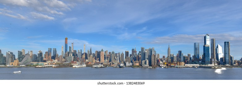 New York City - April 21, 2019: Panoramic view of the New York City skyline from Hamilton Park, Weehawken, New Jersey.