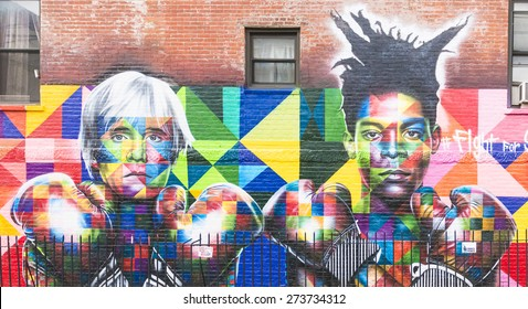 NEW YORK CITY - APRIL 21: Mural art by brazilian artist Eduardo Kobra with the image of Andy Warhol and Jean-Michel Basquiat, on April 21, 2015 in New York City.