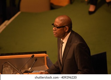NEW YORK CITY - APRIL 21 2016: Actor & UN envoy Forrest Whittaker appeared before a special plenary segment of the UN General Assembly to discuss Sustainable Development Goals.