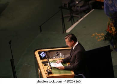 NEW YORK CITY - APRIL 22 2016: Opening ceremonies at the United Nations General Assembly took place prior to member nations signing the Paris Climate Accord. Messenger of peace Leonardo DiCaprio