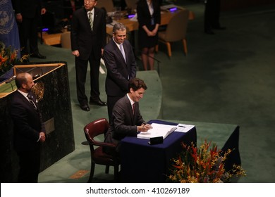 NEW YORK CITY - APRIL 22 2016: Opening ceremonies at the United Nations General Assembly took place prior to member nations signing the Paris Climate Accord. Canadian Prime Minister Justin Trudeau