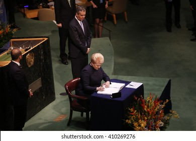 NEW YORK CITY - APRIL 22 2016: Opening ceremonies at the United Nations General Assembly took place prior to member nations signing the Paris Climate Accord.
