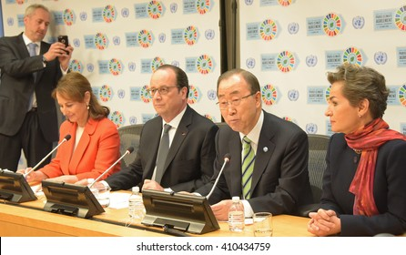 NEW YORK CITY - APRIL 22 2016: French president Francois Hollande held a press conference with UN secretary-general Ban Ki-Moon after signing of the Paris Climate Accord