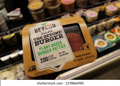 NEW YORK CITY APRIL 23 2019:THE BEYOND BURGER Plant Based Burger Patties by BEYOND MEAT in Grocery store, Midtown Manhattan