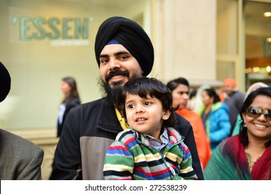 NEW YORK CITY - APRIL 25 2015: the 28th annual Sikh Day parade & festival filled Madison Avenue with marchers, floats & martial arts demonstrations