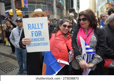 NEW YORK CITY - APRIL 26 2015: thousands of Armenian descent & their supporters gathered in Times Square for the centennial of the genocide of Armenians by Ottoman Turks & demand Turkey acknowledge it