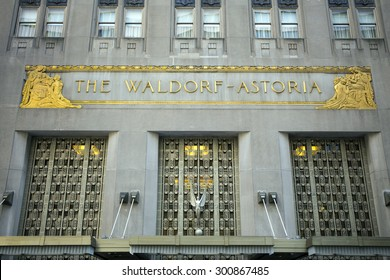 NEW YORK CITY - APRIL 26: TheThe Waldorf Astoria has been a filming location for numerous films and TV series. Located at 301 Park Avenue, New York, NY as see on April 26, 2015