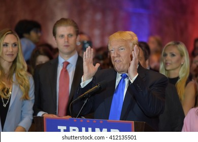 NEW YORK CITY - APRIL 27 2016: Front runner for the Republican presidential nomination Donald Trump gave a speech at Trump Tower in Midtown Manhattan to mark his victory in all five primary races.