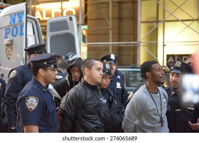 NEW YORK CITY - APRIL 29 2015: hundreds of demonstrators filled Union Square in support of Freddie Gray protests in Baltimore. Attempts to march resulted in more than one hundred arrests by NYPD