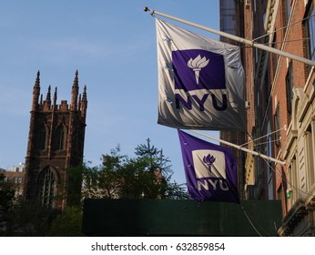 New York City - April 29 2017. New York University flags outside of building.
