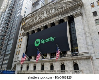 New York City, April 3, 2018 - Banner on the New York Stock Exchange celebrating the IPO  of the  music streaming service Spotify.
