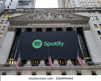 New York City, April 3 2018 - Banner on the New York Stock Exchange celebrating the IPO of the music streaming service Spotify.