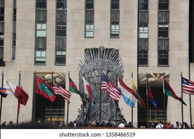 NEW YORK CITY APRIL 3 2019: MASSIVE IRON THRONE POPUP FROM GAME OF THRONES AT ROCKEFELLER CENTER, MANHATTAN