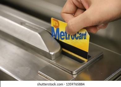 NEW YORK CITY APRIL 3 2019: MetroCard swipes at subway station
