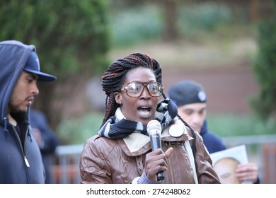 """NEW YORK CITY - APRIL 30 2015: several dozen activists staged a """"block party"""" at One Police Plaza to protest the """"broken windows"""" philosophy of law enforcement. Jewel Miller, mother of Legacy Garner"""