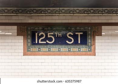 New York City - April 30, 2017: 125th Street Subway Station in Harlem, New York City.