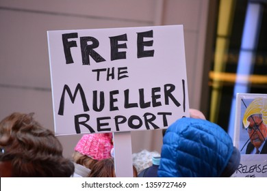 New York City - April, 4, 2019: Protest in Time's Square to demand the public release of the Mueller Report in Manhattan.