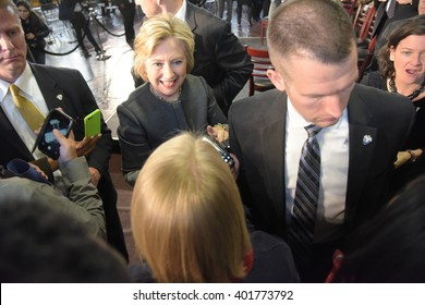 NEW YORK CITY - APRIL 4 2016: Democratic presidential candidate Hillary Rodham Clinton held a town hall meeting in Brooklyn sponsored by Congress woman Yvette Clarke. Candidate mixes with supporters.