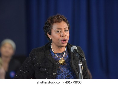 NEW YORK CITY - APRIL 4 2016: Democratic presidential candidate Hillary Rodham Clinton held a town hall meeting in Brooklyn sponsored by Congress woman Yvette Clarke. Yvette Clarke speaks.