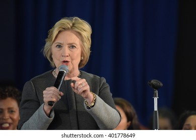 NEW YORK CITY - APRIL 4 2016: Democratic presidential candidate Hillary Rodham Clinton held a town hall meeting in Brooklyn sponsored by Congress woman Yvette Clarke