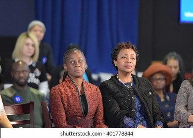 NEW YORK CITY - APRIL 4 2016: Democratic presidential candidate Hillary Rodham Clinton held a town hall meeting in Brooklyn sponsored by Yvette Clarke. Chirlane McCray & Yvette Clarke on stage