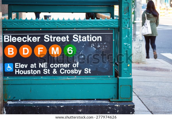 NEW YORK CITY - APRIL 5, 2015: Bleecker St. Station in New York City, one of the many wheelchair accessible entries into the NYC metro system. The NYC subway system has 469 stations operational.